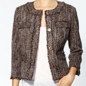 Michael Kors Tweed Blazer Jacket Fringe Snap Front